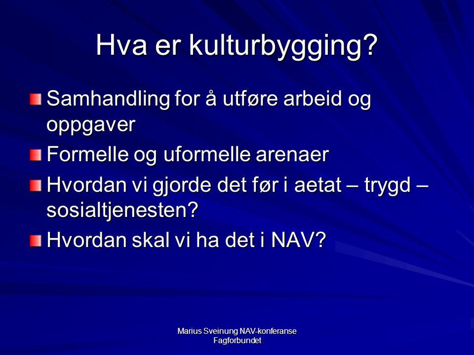 Marius Sveinung NAV-konferanse Fagforbundet Hva er kulturbygging.
