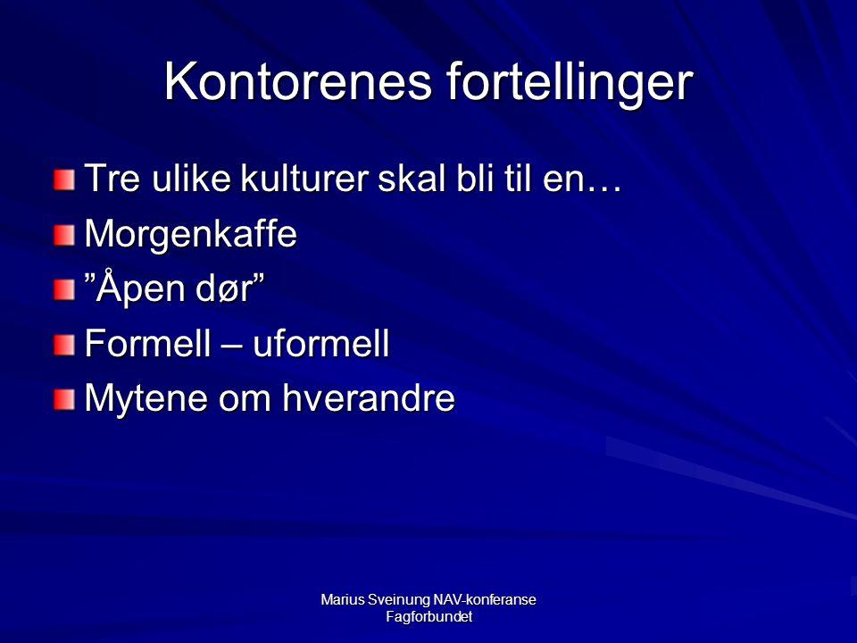 Marius Sveinung NAV-konferanse Fagforbundet Kontorenes fortellinger Tre ulike kulturer skal bli til en… Morgenkaffe Åpen dør Formell – uformell Mytene om hverandre
