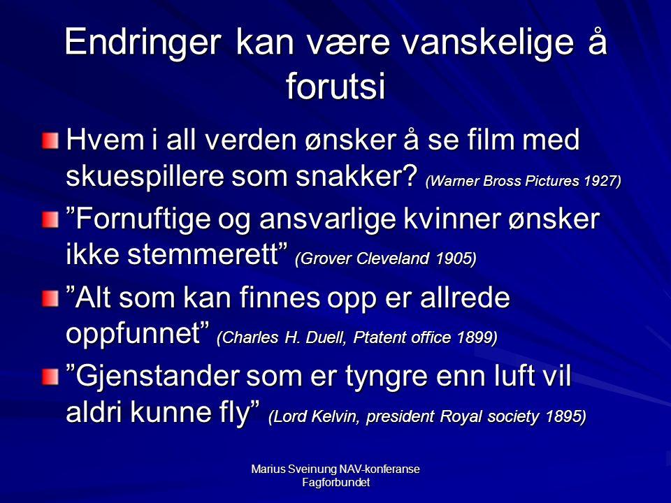 Marius Sveinung NAV-konferanse Fagforbundet Endringer kan være vanskelige å forutsi Hvem i all verden ønsker å se film med skuespillere som snakker.