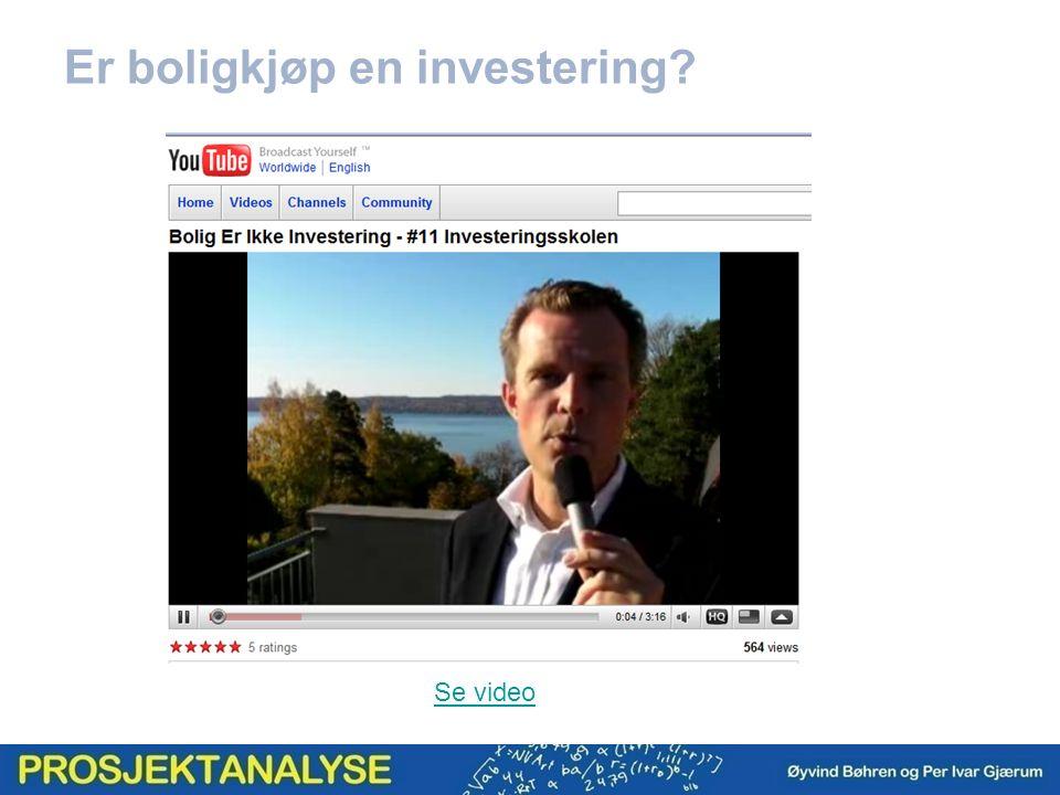 Er boligkjøp en investering Se video
