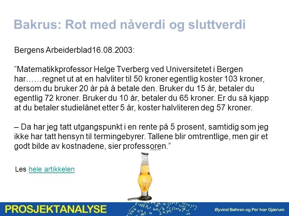 """Bakrus: Rot med nåverdi og sluttverdi Bergens Arbeiderblad16.08.2003: """"Matematikkprofessor Helge Tverberg ved Universitetet i Bergen har……regnet ut at"""
