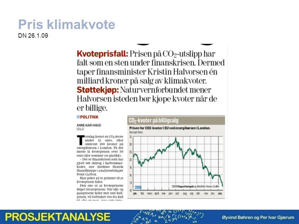 Pris klimakvote DN 26.1.09