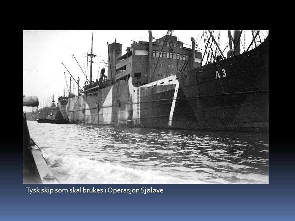 Tysk skip som skal brukes i Operasjon Sjøløve