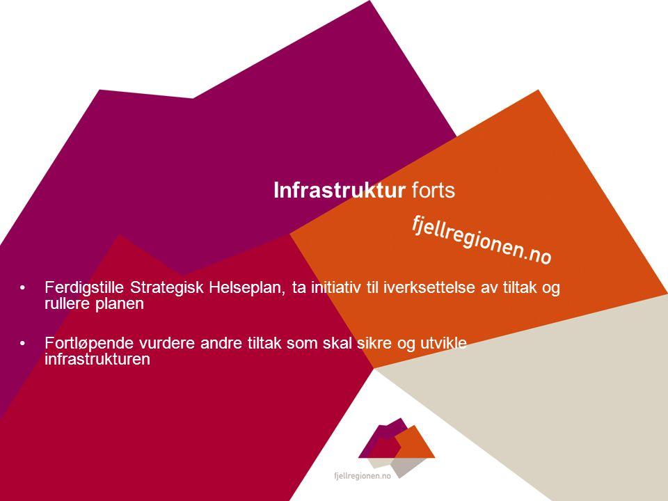 Infrastruktur forts Ferdigstille Strategisk Helseplan, ta initiativ til iverksettelse av tiltak og rullere planen Fortløpende vurdere andre tiltak som skal sikre og utvikle infrastrukturen