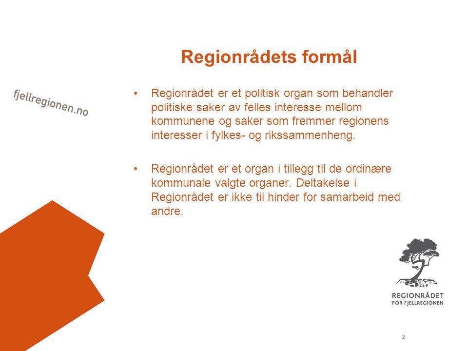 2 Regionrådets formål Regionrådet er et politisk organ som behandler politiske saker av felles interesse mellom kommunene og saker som fremmer regionens interesser i fylkes- og rikssammenheng.