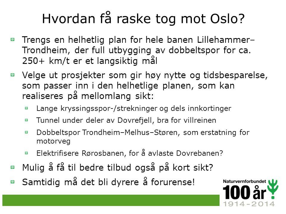 Hvordan få raske tog mot Oslo.