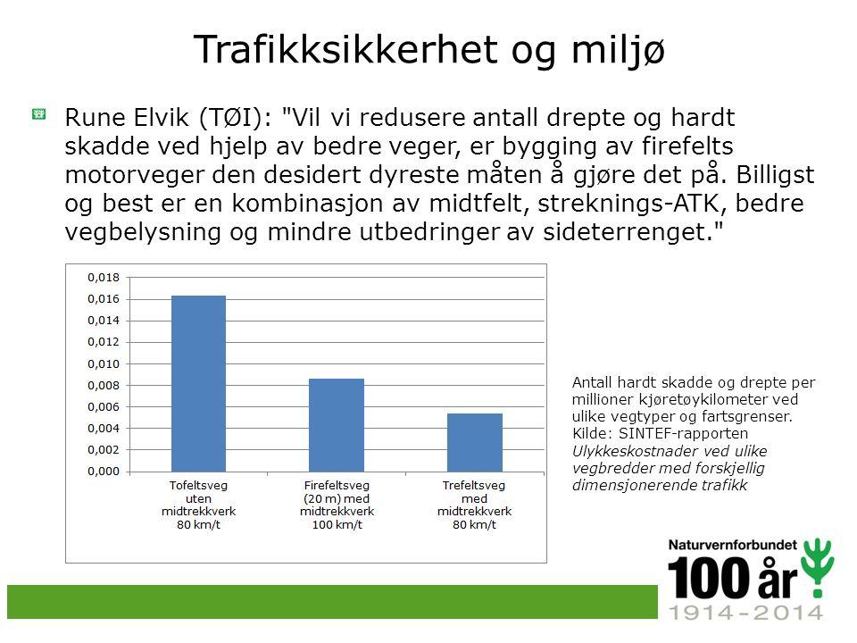 Trafikksikkerhet og miljø Rune Elvik (TØI): Vil vi redusere antall drepte og hardt skadde ved hjelp av bedre veger, er bygging av firefelts motorveger den desidert dyreste måten å gjøre det på.