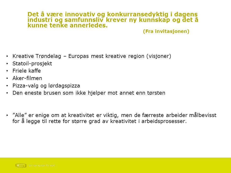 Det å være innovativ og konkurransedyktig i dagens industri og samfunnsliv krever ny kunnskap og det å kunne tenke annerledes. (Fra invitasjonen) Krea