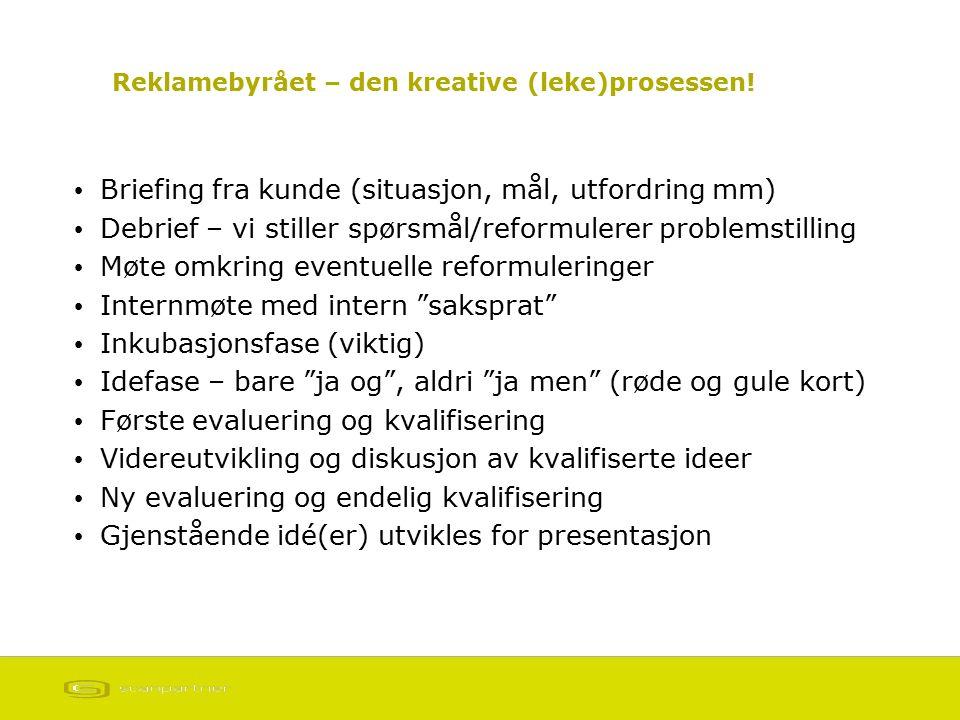 Reklamebyrået – den kreative (leke)prosessen! Briefing fra kunde (situasjon, mål, utfordring mm) Debrief – vi stiller spørsmål/reformulerer problemsti