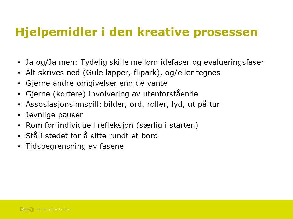 Hjelpemidler i den kreative prosessen Ja og/Ja men: Tydelig skille mellom idefaser og evalueringsfaser Alt skrives ned (Gule lapper, flipark), og/elle