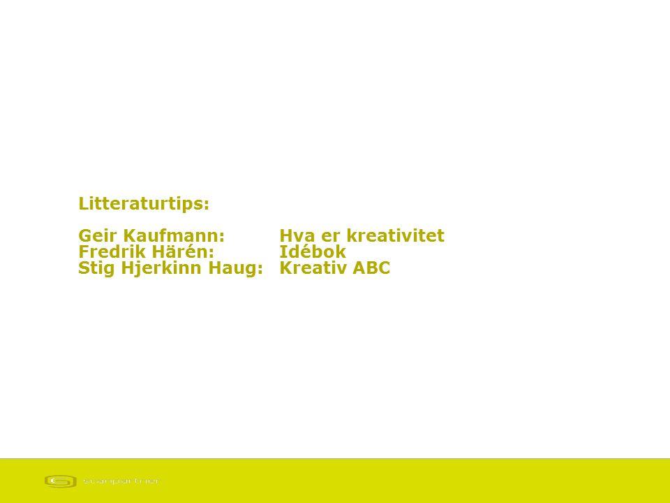 Litteraturtips: Geir Kaufmann: Hva er kreativitet Fredrik Härén: Idébok Stig Hjerkinn Haug:Kreativ ABC
