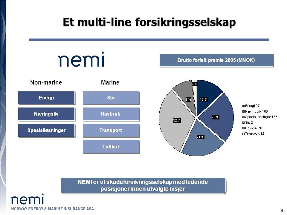 4 Næringsliv Spesialløsninger Et multi-line forsikringsselskap NEMI er et skadeforsikringsselskap med ledende posisjoner innen utvalgte nisjer Energi Sjø Havbruk Transport Luftfart MarineNon-marine Brutto forfalt premie 2005 (MNOK)