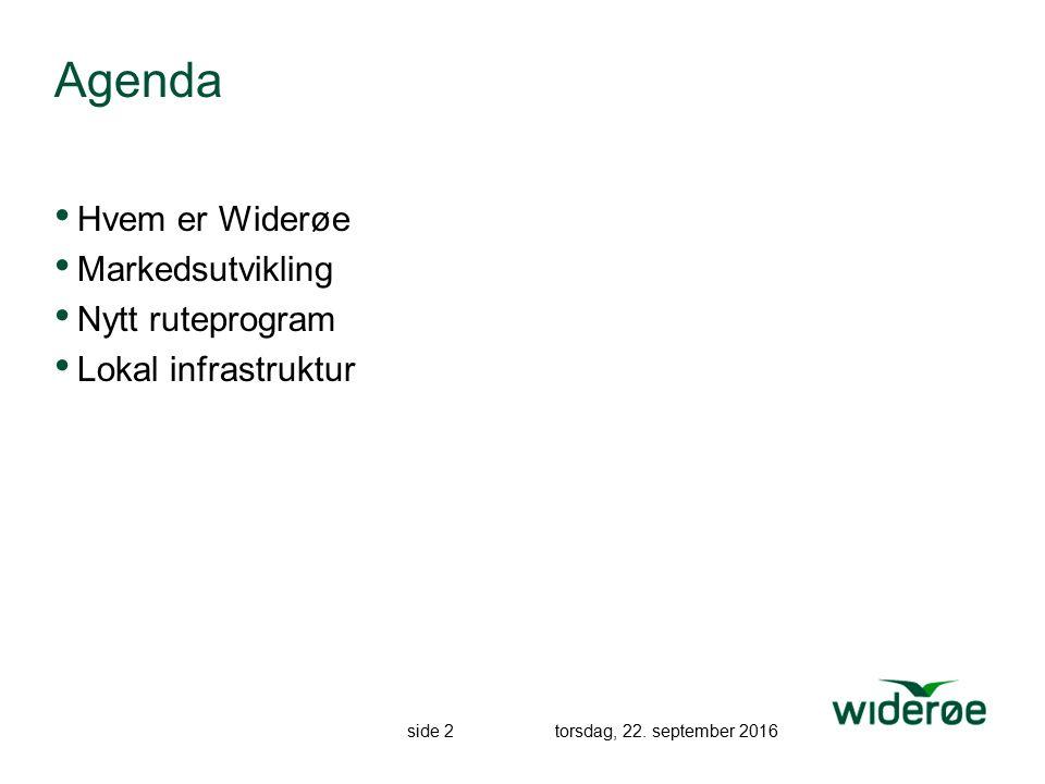 side 2 torsdag, 22. september 2016 Agenda Hvem er Widerøe Markedsutvikling Nytt ruteprogram Lokal infrastruktur