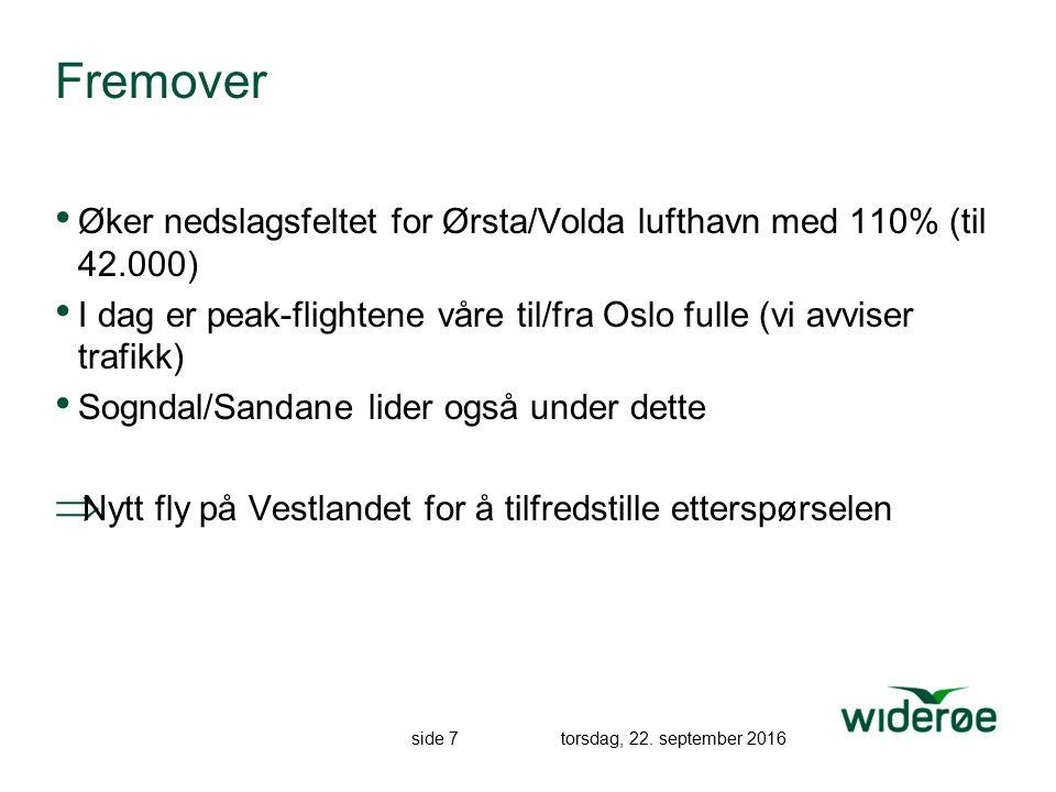 side 7 torsdag, 22. september 2016 Fremover Øker nedslagsfeltet for Ørsta/Volda lufthavn med 110% (til 42.000) I dag er peak-flightene våre til/fra Os