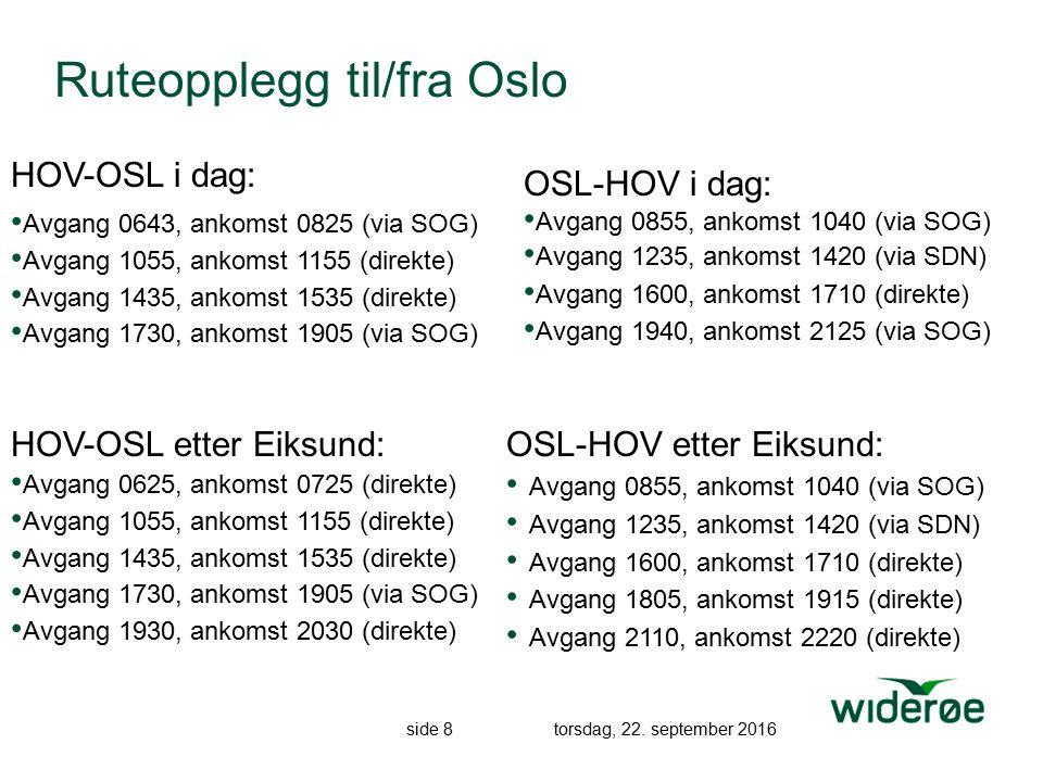side 8 torsdag, 22. september 2016 Ruteopplegg til/fra Oslo OSL-HOV etter Eiksund: Avgang 0855, ankomst 1040 (via SOG) Avgang 1235, ankomst 1420 (via