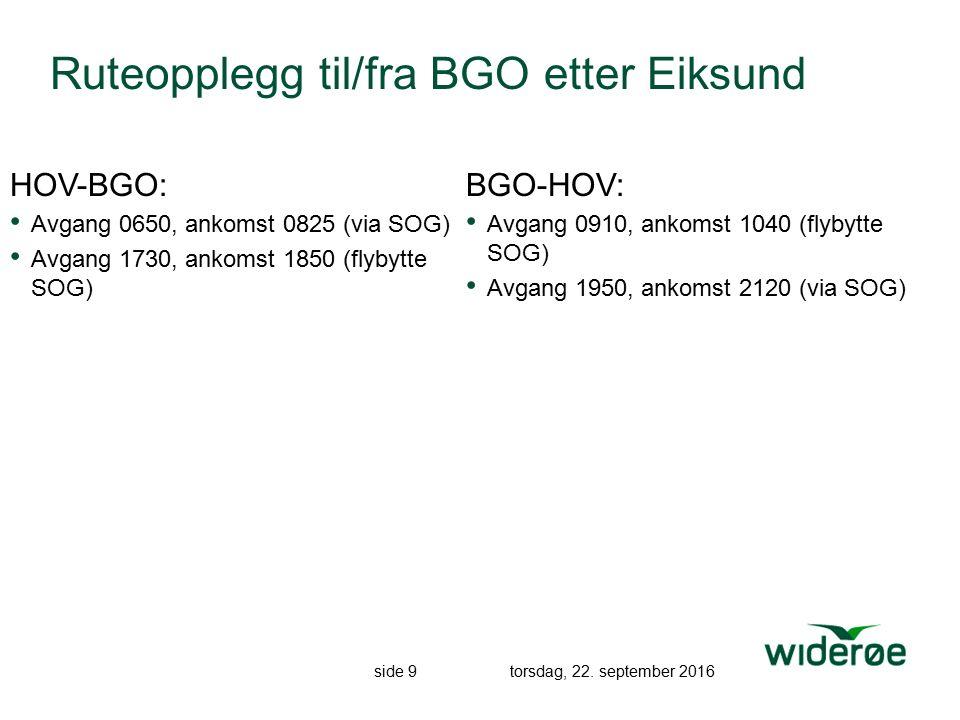 side 9 torsdag, 22. september 2016 Ruteopplegg til/fra BGO etter Eiksund HOV-BGO: Avgang 0650, ankomst 0825 (via SOG) Avgang 1730, ankomst 1850 (flyby