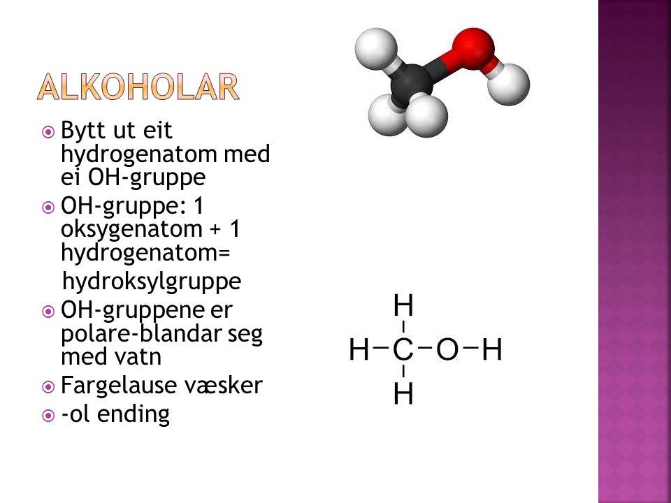  Bytt ut eit hydrogenatom med ei OH-gruppe  OH-gruppe: 1 oksygenatom + 1 hydrogenatom= hydroksylgruppe  OH-gruppene er polare-blandar seg med vatn  Fargelause væsker  -ol ending