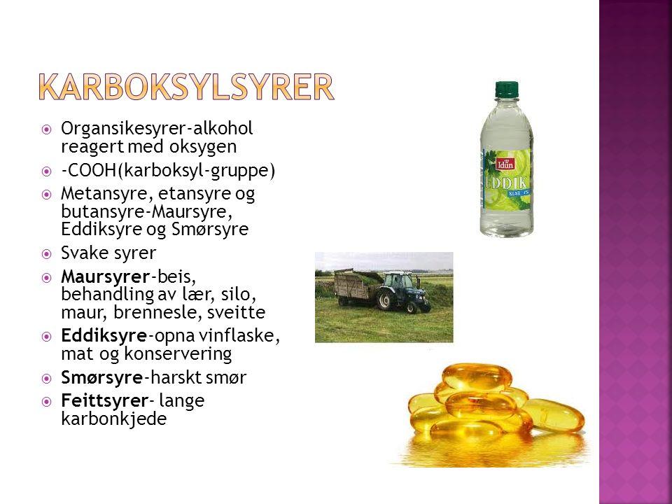  Organsikesyrer-alkohol reagert med oksygen  -COOH(karboksyl-gruppe)  Metansyre, etansyre og butansyre-Maursyre, Eddiksyre og Smørsyre  Svake syrer  Maursyrer-beis, behandling av lær, silo, maur, brennesle, sveitte  Eddiksyre-opna vinflaske, mat og konservering  Smørsyre-harskt smør  Feittsyrer- lange karbonkjede