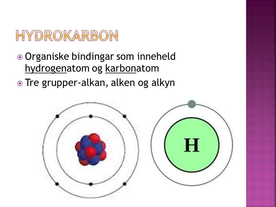 Organiske bindingar som inneheld hydrogenatom og karbonatom  Tre grupper-alkan, alken og alkyn