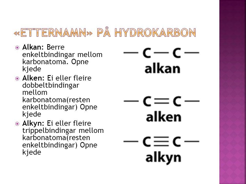  Alkan: Berre enkeltbindingar mellom karbonatoma.