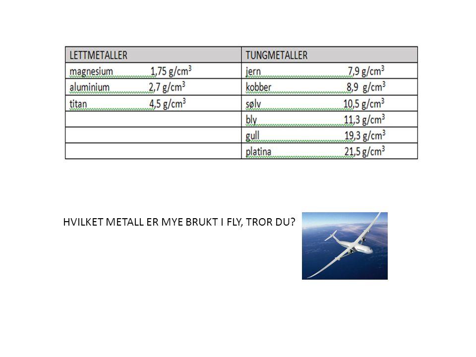 HVILKET METALL ER MYE BRUKT I FLY, TROR DU