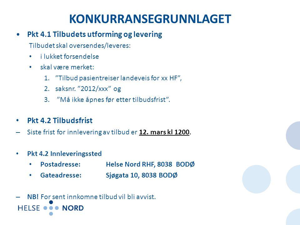 KONKURRANSEGRUNNLAGET Pkt 4.1 Tilbudets utforming og levering Tilbudet skal oversendes/leveres: i lukket forsendelse skal være merket: 1. Tilbud pasientreiser landeveis for xx HF , 2.saksnr.