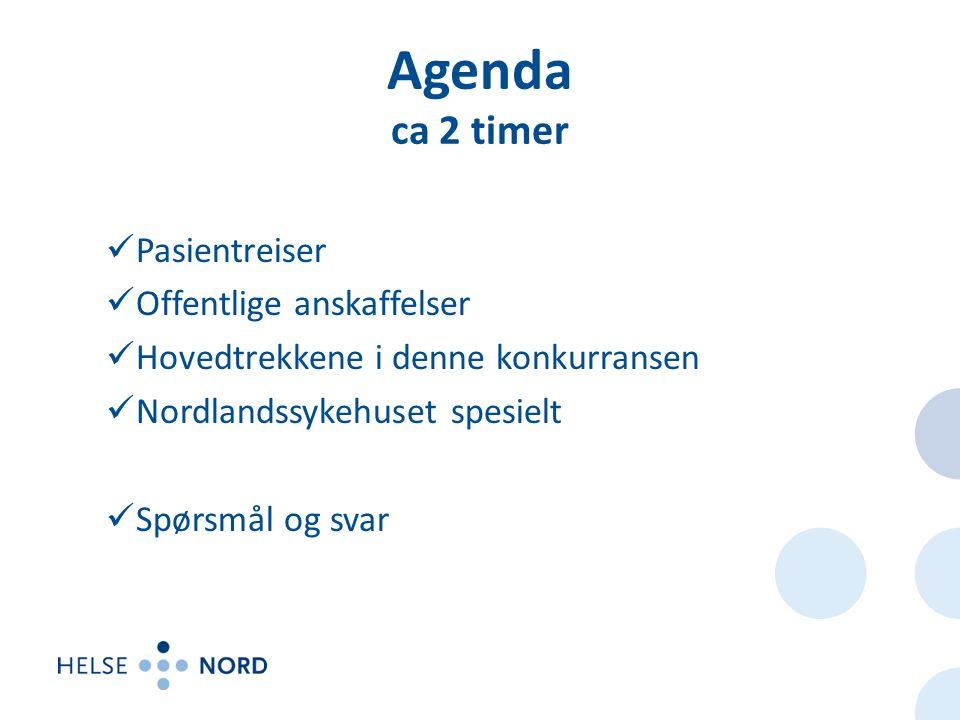 Agenda ca 2 timer Pasientreiser Offentlige anskaffelser Hovedtrekkene i denne konkurransen Nordlandssykehuset spesielt Spørsmål og svar