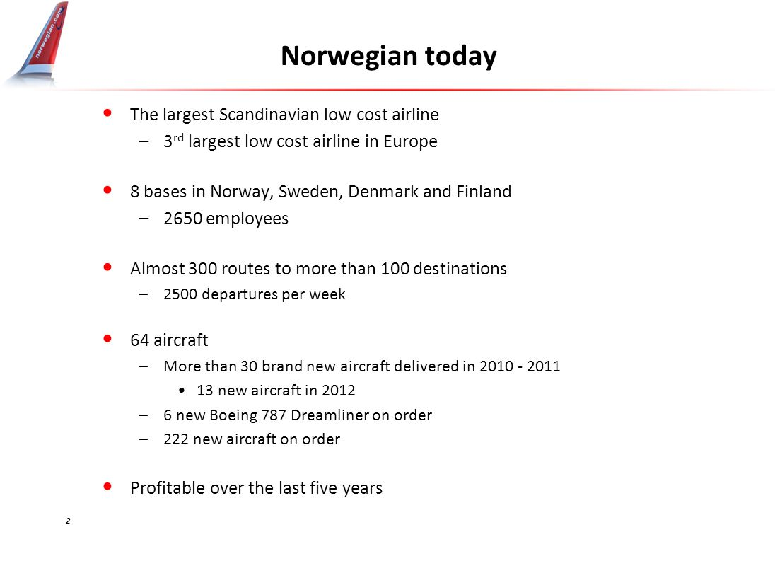 Norwegian today The largest Scandinavian low cost airline –3 rd largest low cost airline in Europe 8 bases in Norway, Sweden, Denmark and Finland –2650 employees Almost 300 routes to more than 100 destinations –2500 departures per week 64 aircraft –More than 30 brand new aircraft delivered in 2010 - 2011 13 new aircraft in 2012 –6 new Boeing 787 Dreamliner on order –222 new aircraft on order Profitable over the last five years 2