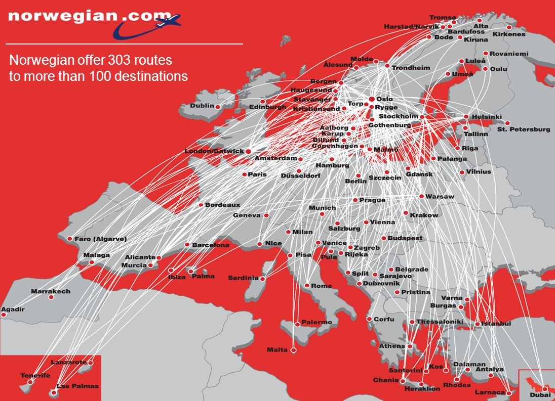 4 Norwegian offer 303 routes to more than 100 destinations