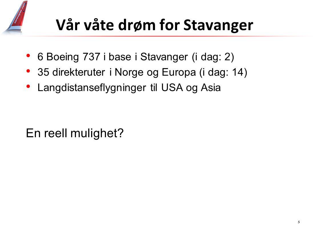 5 Vår våte drøm for Stavanger 6 Boeing 737 i base i Stavanger (i dag: 2) 35 direkteruter i Norge og Europa (i dag: 14) Langdistanseflygninger til USA