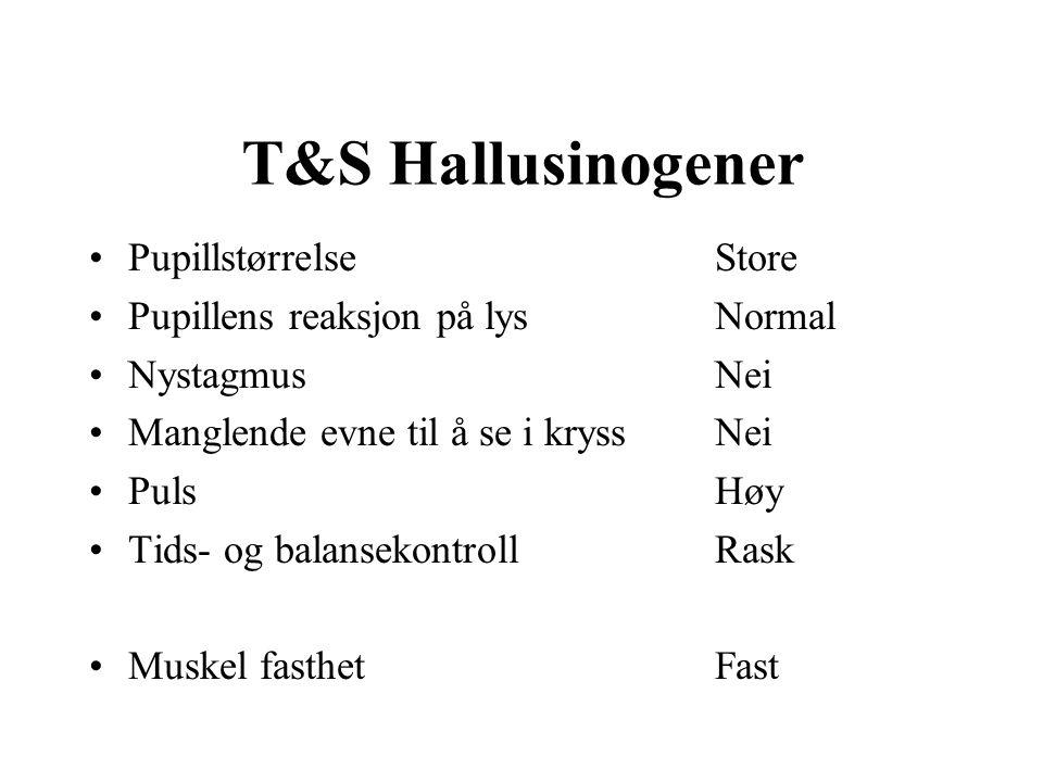 T&S Sentralstimulerende PupillstørrelseStore Pupillens reaksjon på lysSein NystagmusNei Manglende evne til å se i kryssNei PulsHøy Tids- og balansekontrollRask Muskel fasthetFast