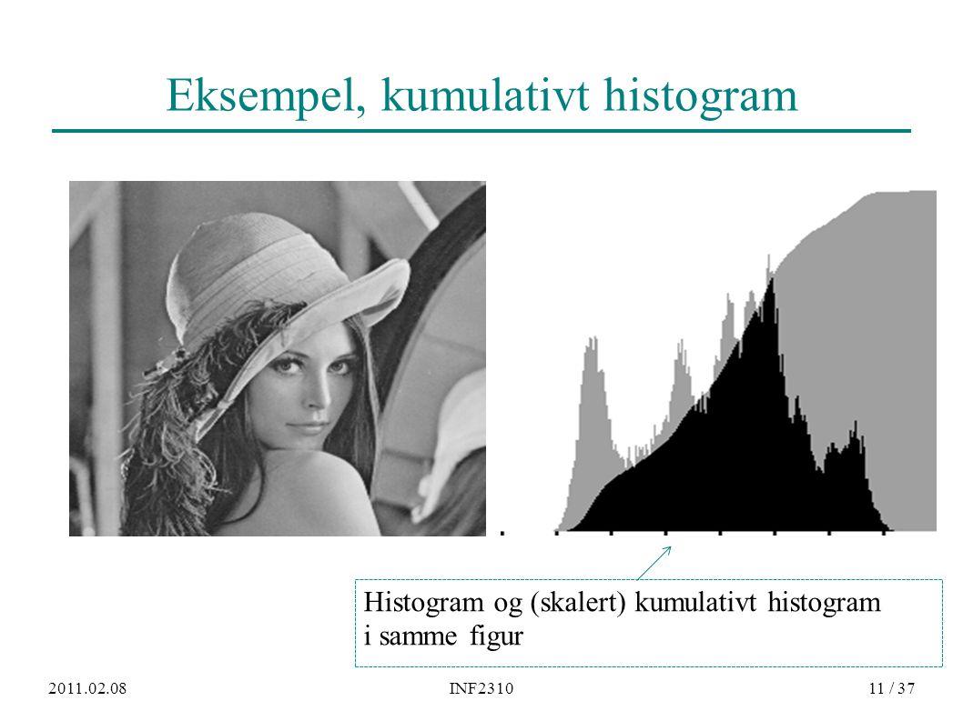 2011.02.08INF231011 / 37 Eksempel, kumulativt histogram Histogram og (skalert) kumulativt histogram i samme figur