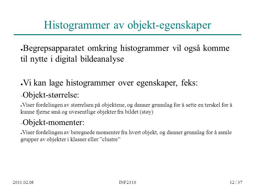 2011.02.08INF231012 / 37 Histogrammer av objekt-egenskaper ● Begrepsapparatet omkring histogrammer vil også komme til nytte i digital bildeanalyse ● V