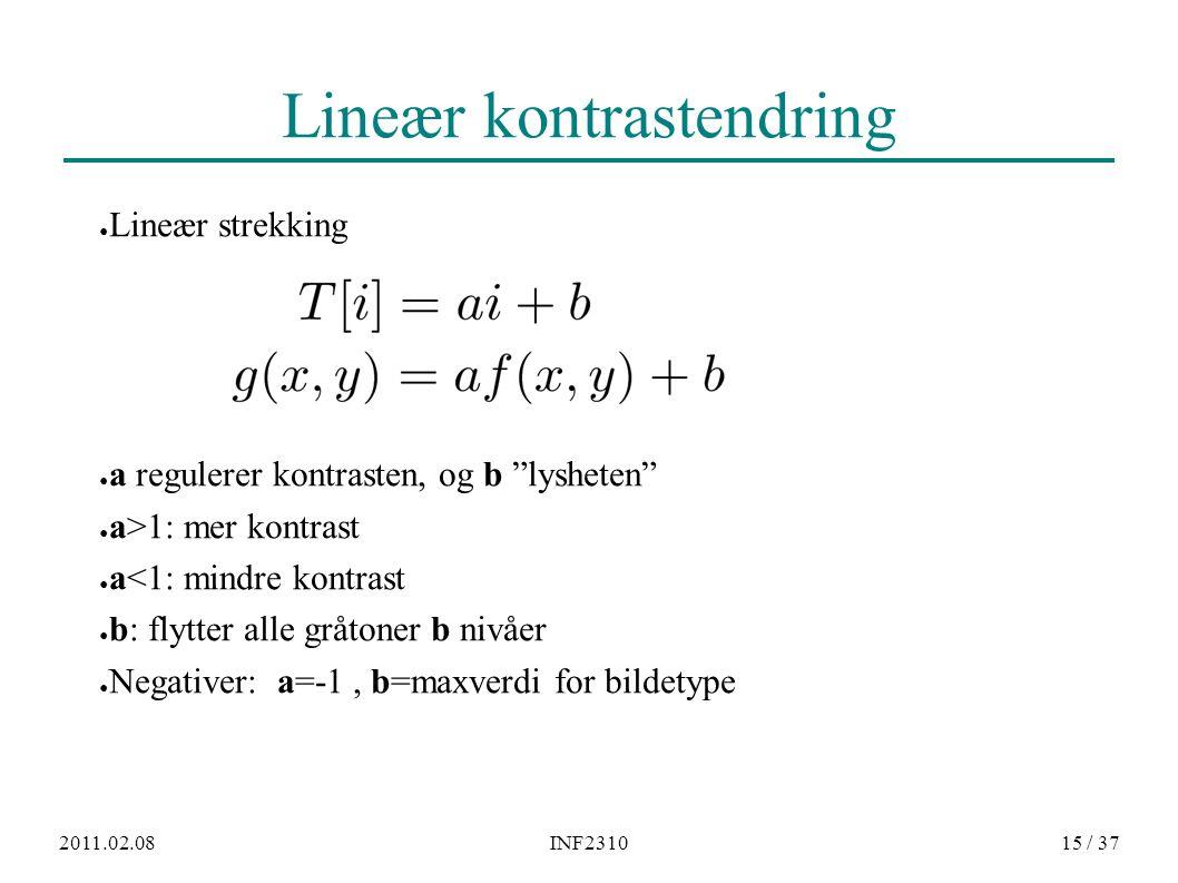 """2011.02.08INF231015 / 37 Lineær kontrastendring ● Lineær strekking ● a regulerer kontrasten, og b """"lysheten"""" ● a>1: mer kontrast ● a<1: mindre kontras"""