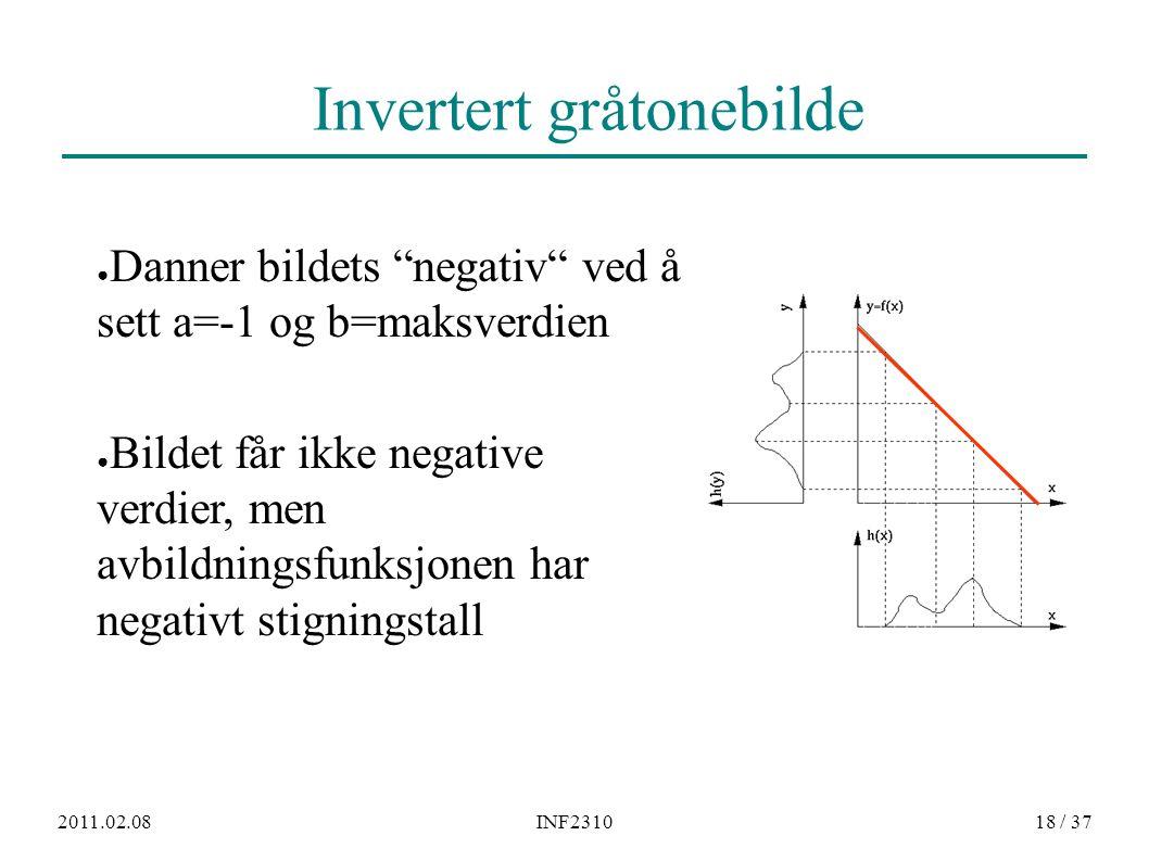 """2011.02.08INF231018 / 37 Invertert gråtonebilde ● Danner bildets """"negativ"""" ved å sett a=-1 og b=maksverdien ● Bildet får ikke negative verdier, men av"""