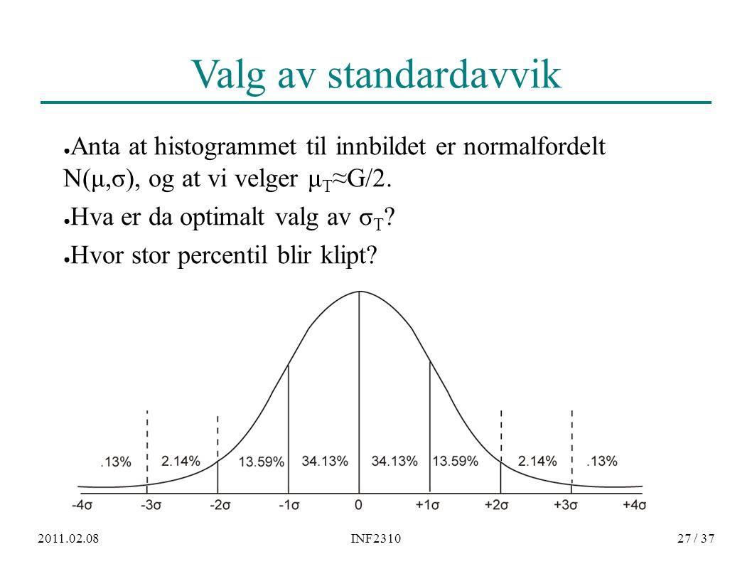 2011.02.08INF231027 / 37 Valg av standardavvik ● Anta at histogrammet til innbildet er normalfordelt N(μ,σ), og at vi velger μ T ≈G/2. ● Hva er da opt