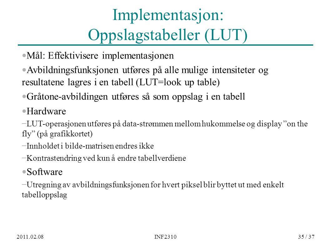 2011.02.08INF231035 / 37 Implementasjon: Oppslagstabeller (LUT) Mål: Effektivisere implementasjonen Avbildningsfunksjonen utføres på alle mulige inten