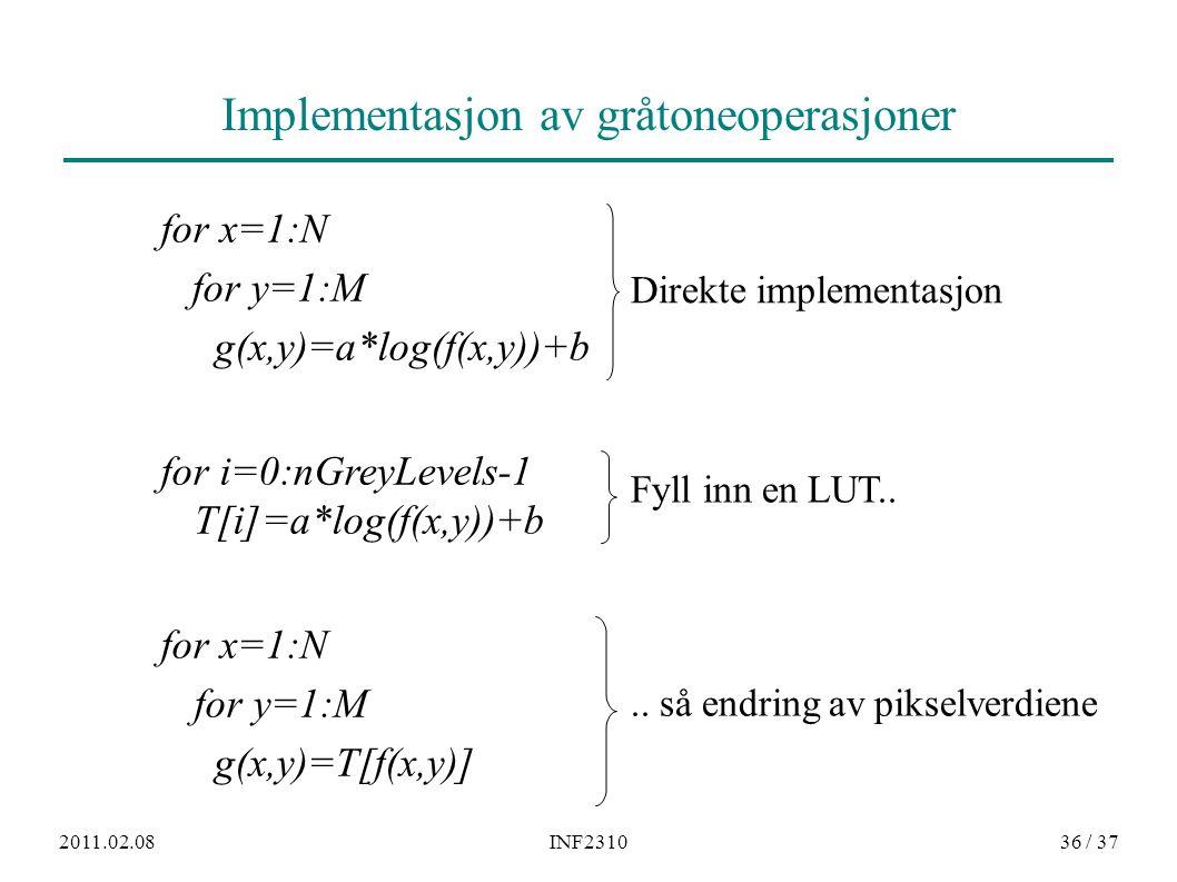 2011.02.08INF231036 / 37 Implementasjon av gråtoneoperasjoner for x=1:N for y=1:M g(x,y)=a*log(f(x,y))+b for i=0:nGreyLevels-1 T[i]=a*log(f(x,y))+b fo