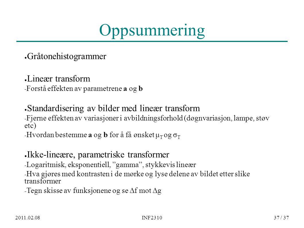 2011.02.08INF231037 / 37 Oppsummering ● Gråtonehistogrammer ● Lineær transform − Forstå effekten av parametrene a og b ● Standardisering av bilder med