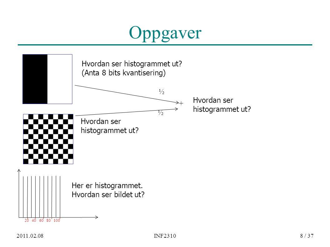 2011.02.08INF231019 / 37 Fra gråtonenivå [f 1,f 2 ] til [g 1,g 2 ] ● Endre intensiteter i intervallet [f 1, f 2 ] til å ligge i [g 1,g 2 ] ● En lineær mapping fra f til g: − Rett linje med stigningstall a=(g 2 -g 1 )/(f 2 -f 1 ) g g 2 g 1 f 1 f 2 f