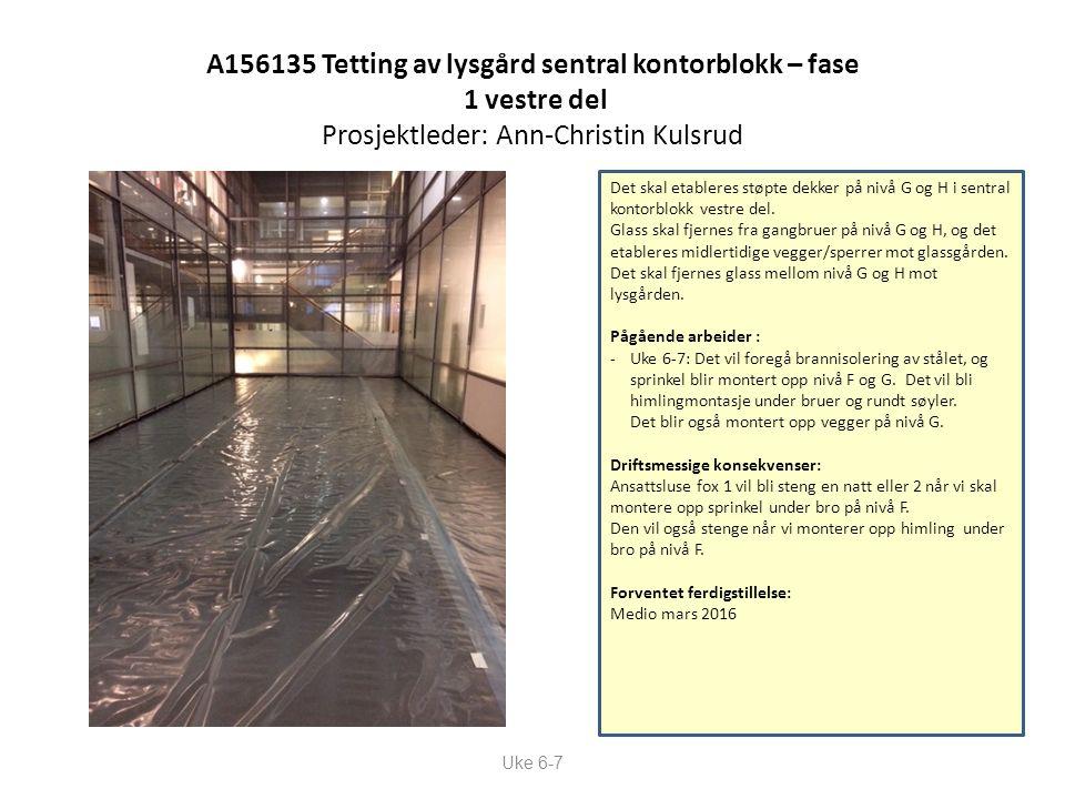A156135 Tetting av lysgård sentral kontorblokk – fase 1 vestre del Prosjektleder: Ann-Christin Kulsrud Uke 6-7 Det skal etableres støpte dekker på nivå G og H i sentral kontorblokk vestre del.