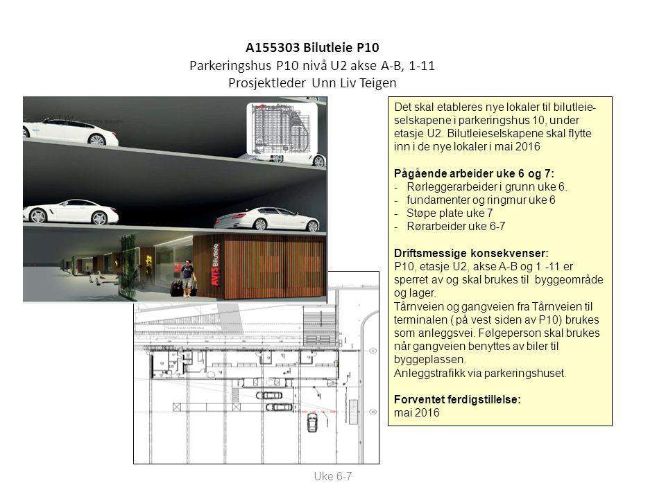 A155303 Bilutleie P10 Parkeringshus P10 nivå U2 akse A-B, 1-11 Prosjektleder Unn Liv Teigen Uke 6-7 Det skal etableres nye lokaler til bilutleie- selskapene i parkeringshus 10, under etasje U2.