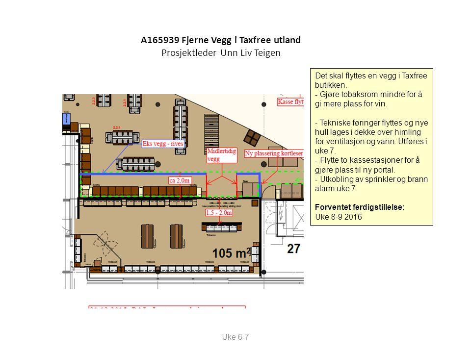 Uke 6-7 A165939 Fjerne Vegg i Taxfree utland Prosjektleder Unn Liv Teigen Det skal flyttes en vegg i Taxfree butikken. - Gjøre tobaksrom mindre for å