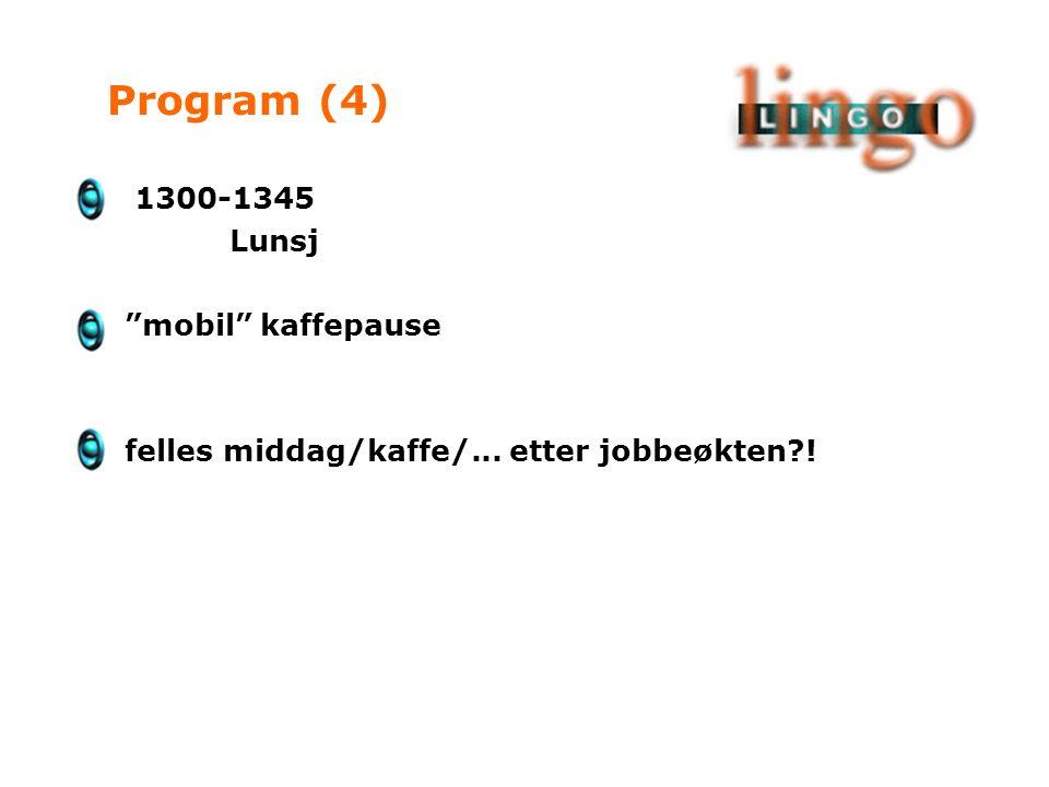 1300-1345 Lunsj mobil kaffepause felles middag/kaffe/... etter jobbeøkten ! Program (4)