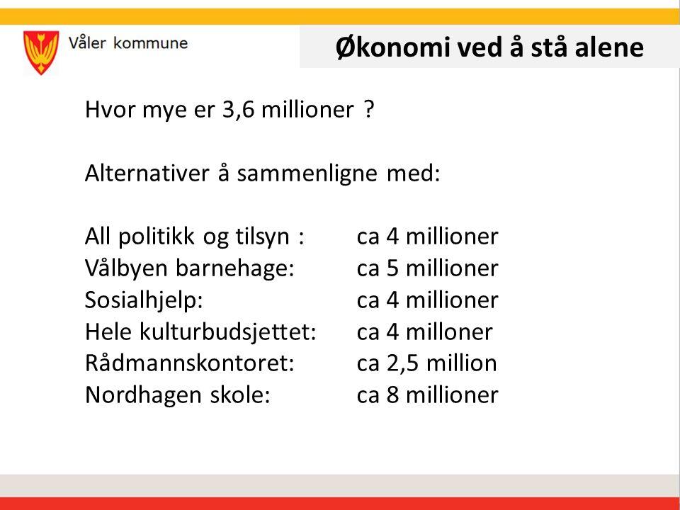 Økonomi ved å stå alene Hvor mye er 3,6 millioner .