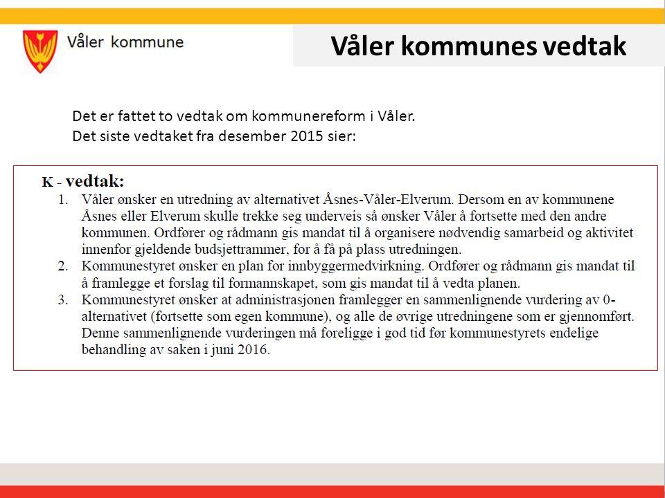 Våler kommunes vedtak Det er fattet to vedtak om kommunereform i Våler.