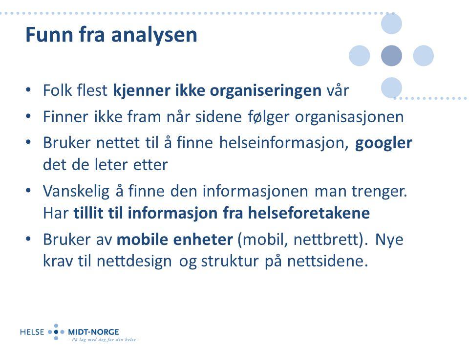 Funn fra analysen Folk flest kjenner ikke organiseringen vår Finner ikke fram når sidene følger organisasjonen Bruker nettet til å finne helseinformasjon, googler det de leter etter Vanskelig å finne den informasjonen man trenger.