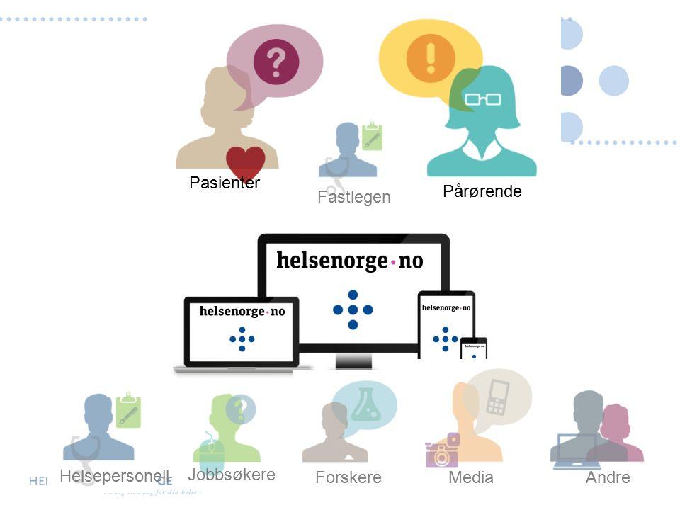 Pasienter Pårørende Forskere Media Andre Jobbsøkere Helsepersonell Fastlegen