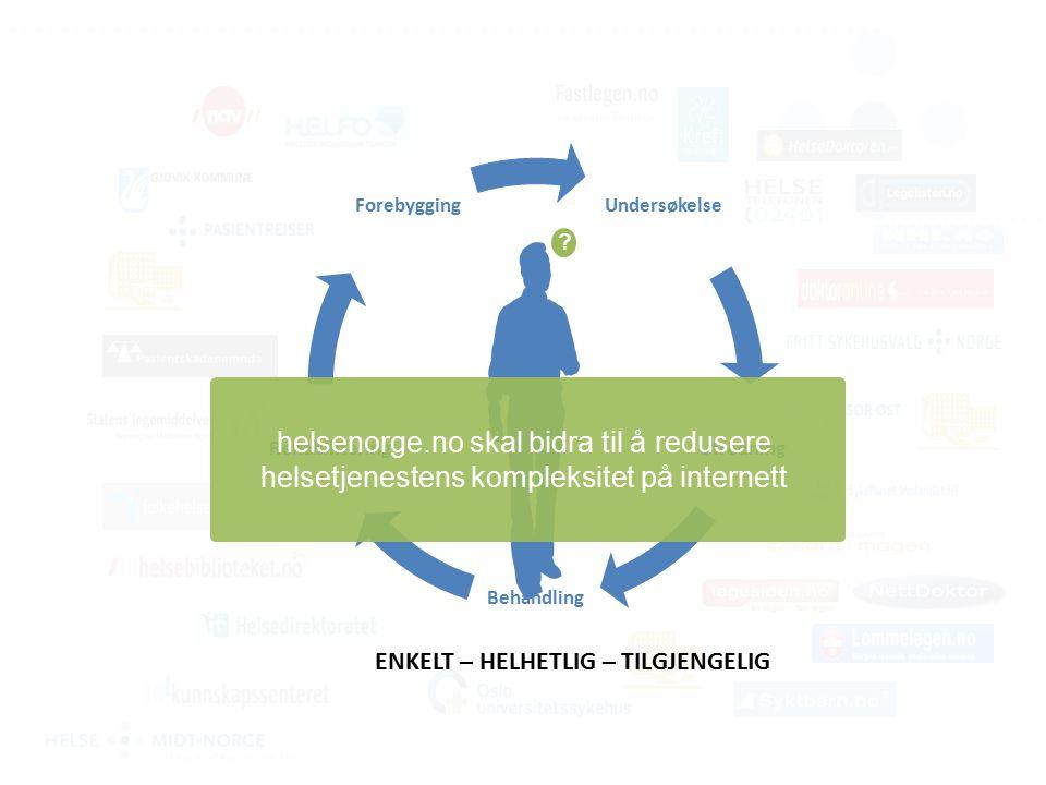 Undersøkelse Utredning Behandling Rehabilitering Forebygging helsenorge.no skal bidra til å redusere helsetjenestens kompleksitet på internett .