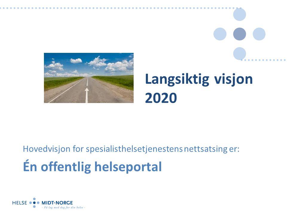 Langsiktig visjon 2020 Hovedvisjon for spesialisthelsetjenestens nettsatsing er: Én offentlig helseportal